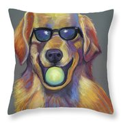 Golden With Ball Throw Pillow