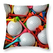 Golf Balls And Colorful Tees Throw Pillow