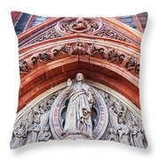Gothic Relief Sculpture On Church Throw Pillow by Ariadna De Raadt