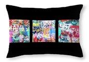 Graffitis Triptych Throw Pillow