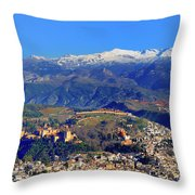Granada, The Alhambra And Sierra Nevada From The Air Throw Pillow