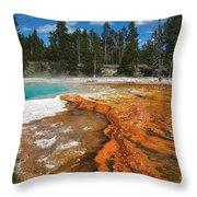 Grand Prismatic Spring Throw Pillow by Mae Wertz