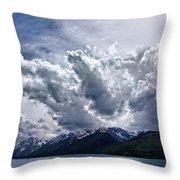 Grand Teton Mountains And Clouds Throw Pillow