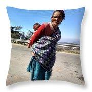 Grandchild And Grandmother Shimla Himachal Pradesh Throw Pillow