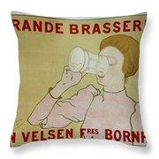 Grande Brasserie, 1894 Belgian Vintage Brewery Poster Throw Pillow