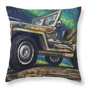Grandpa Willie's Willys Jeep Throw Pillow by Eric Dee