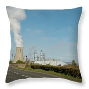 Grangemouth Petro-chemical Plant Throw Pillow