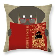 Gray Dog Reading Throw Pillow by Donna Mibus