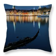 Gray Wolf Shipwreck And Stockholm Gamla Stan Fantastic Reflection In The Baltic Sea  Throw Pillow