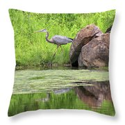 Great Blue Heron And Boulder Throw Pillow