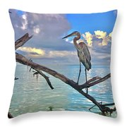 Great Blue Heron Throw Pillow by Robb Stan