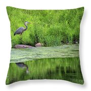 Great Blue Heron Square Throw Pillow