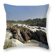Great Falls On The Potomac Panorama  Throw Pillow