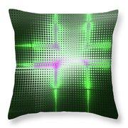 Green Aluminum Sparkling Surface. Metallic Geometric Abstract Fashion Background. Throw Pillow