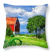Green Bike On The Farm Throw Pillow