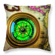 Green Compass And Old Key Throw Pillow