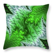 Green Frosty Canyon Throw Pillow