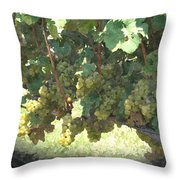 Green Grapes On The Vine 17 Throw Pillow