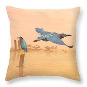 Green Heron Sunrise Throw Pillow