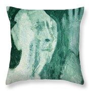 Green Portrait Throw Pillow