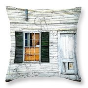 Green Shutters Throw Pillow by Kendall McKernon