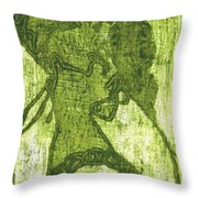Green Thumb Cheek Girl Throw Pillow