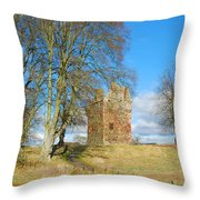 Greenknowe Tower In Late Winter Sun Scottish Borders Throw Pillow