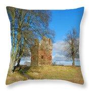 Greenknowe Tower In Winter Sun, Scottish Borders Throw Pillow