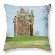 Greenknowe Tower Ruin Throw Pillow