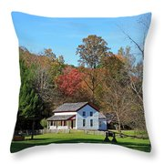Gregg Cable House In Cades Cove Historic Area Of The Smoky Mountains Throw Pillow