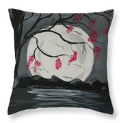 Grey Moon With Red Flowers Throw Pillow