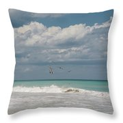 Group Of Pelicans Above The Ocean Throw Pillow