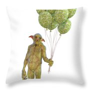 Grumpy Troll Smiling Peace Offering Throw Pillow