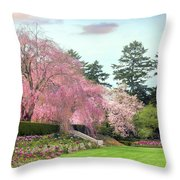 Weeping Cherry And Tulips Throw Pillow