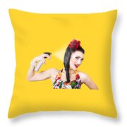 Haircare. Brunette Pinup Woman Using Hair Product Throw Pillow