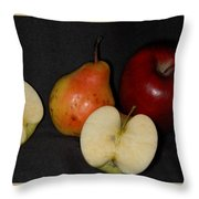 Half An Apple On Black Throw Pillow