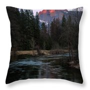 Half Dome Reflection Over Merced River At Sunset, Yosemite National Park  Throw Pillow
