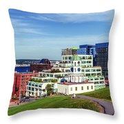 Halifax Town Clock And Halifax Skyline Throw Pillow