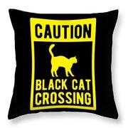 Halloween Shirt Caution Black Cat Crossing Gift Tee Throw Pillow