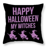 Halloween Shirt Happy Halloween Witches Gift Tee Throw Pillow