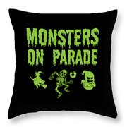 Halloween Shirt Monsters On Parade Green Gift Tee Throw Pillow