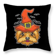 Halloween Shirt Witch Yorkshire Dog Costume Gift  Throw Pillow
