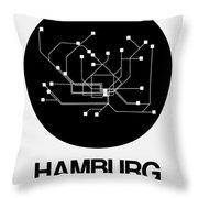 Hamburg Black Subway Map Throw Pillow