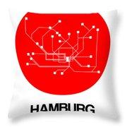 Hamburg Red Subway Map Throw Pillow