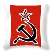 Hammer And Sickle Grunge Throw Pillow