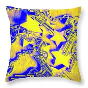 Handguns, Chains And Handcuffs Throw Pillow