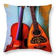 Hanging Violin And Mandolin Throw Pillow