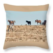 Hanging With Family And Friends - South Steens Wild Horses Throw Pillow by Belinda Greb