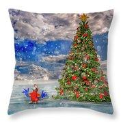 Happy Christmas Parrot Throw Pillow