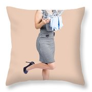Happy Cleaning Woman Kicking Up Dirt And Grime Throw Pillow